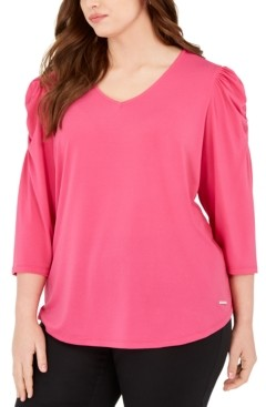 Adrienne Vittadini Plus Size Knit Crepe Puff-Sleeve Top
