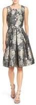 Eliza J Belted Jacquard Fit & Flare Dress (Regular & Petite)
