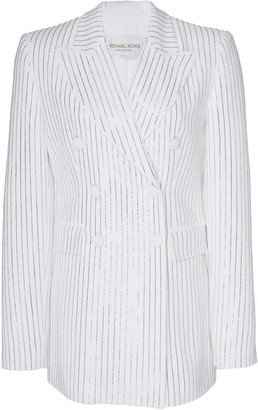 Michael Kors Pinstriped Double-Breasted Crepe Jacket