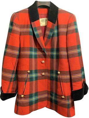 Hermes Red Wool Coat for Women Vintage