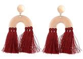 Burgundy Abstract Tassel Pendant Earrings