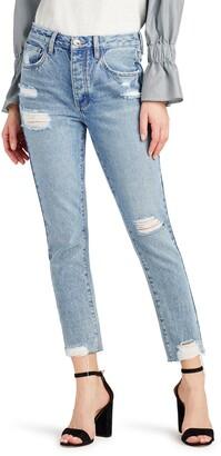 Sam Edelman The Stiletto Distressed High Waist Ankle Straight Leg Jeans