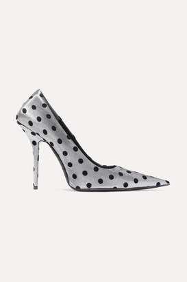 Balenciaga Square Knife Polka-dot Flocked Lame Pumps - Silver
