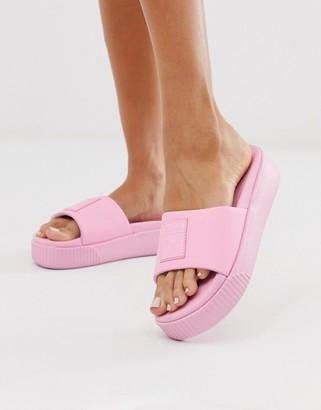 Puma Platform pink sliders