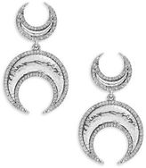 House Of Harlow Pave Silvertone Crescent Drop Earrings