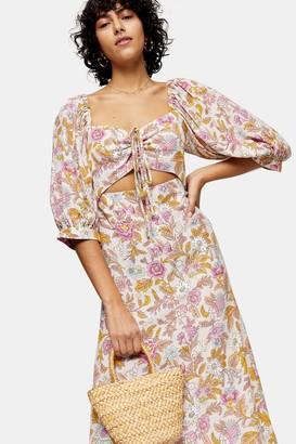 Topshop White Floral Print Cut Out Midi Dress