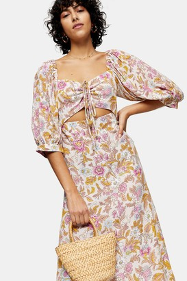 Topshop Womens White Floral Print Cut Out Midi Dress - Pink
