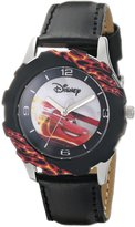 Disney Kids' W000396 Tween Cars Stainless Steel Printed Bezel Black Leather Strap Watch