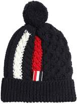 Thom Browne Merino Wool Cable Knit Hat W/ Pompom