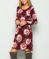 Sweet Pea Burgundy Floral Side-Pocket Shift Dress