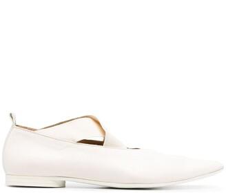 UMA WANG Crossover-Straps Pointed Ballerina Shoes