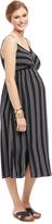Motherhood Striped Slit Detail Maternity Dress