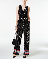 NY Collection Petite Mixed-Print Jumpsuit