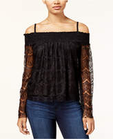 BCX Juniors' Smocked Lace Off-The-Shoulder Top