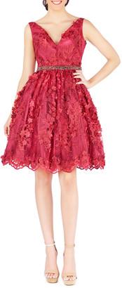 Mac Duggal V-Neck Floral-Embroidered Fit-&-Flare Cocktail Dress