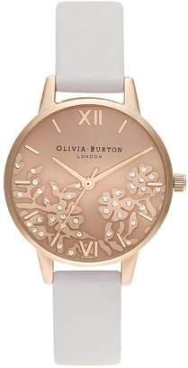 Olivia Burton Bejeweled Lace Rose Goldtone Vegan Leather Watch
