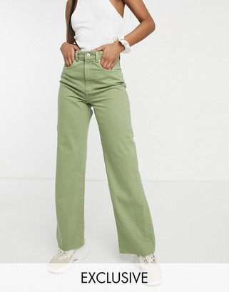 Stradivarius 90s dad jeans in washed khaki