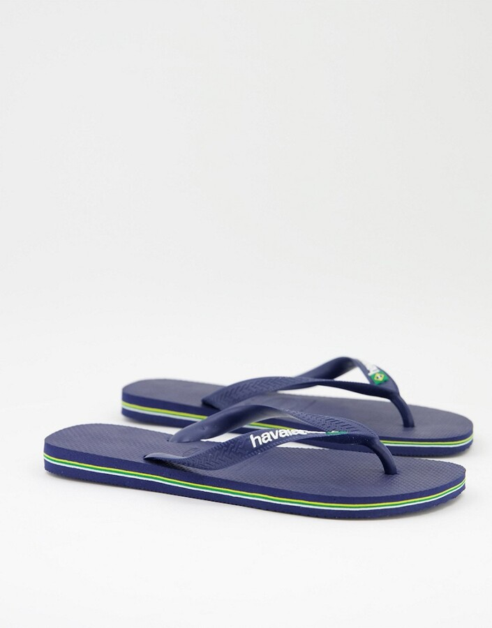 Thumbnail for your product : Havaianas brasil logo flip flops in navy