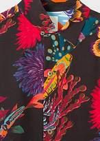 Paul Smith Men's Black 'Ocean' Print Short-Sleeve Shirt