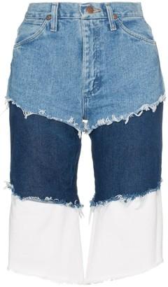 Natasha Zinko Wrangler high waisted layered denim shorts