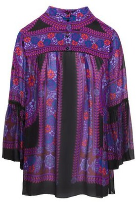 Anna Sui Gathered Printed Georgette Blouse