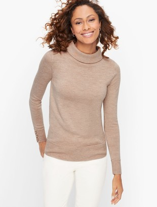 Talbots Sabrina Merino Button Cuff Sweater - Lurex