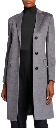 Agnona Cashmere Single-Breasted Slim Coat, Gray