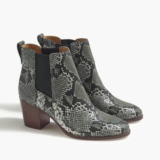 J.Crew Snakeskin-print Rory heeled boots