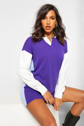 boohoo Colour Block Rugby sweater Dress