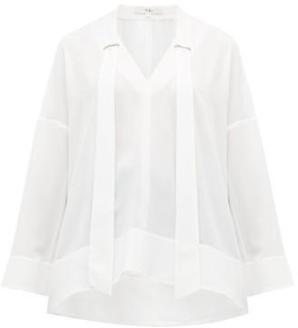 Tibi Savannah V Neck Crepe Blouse - Womens - White