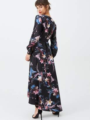 Little Mistress Dipped Hem Wrap Maxi Dress - Black/Floral