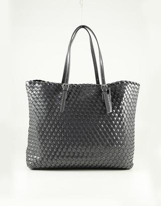 Ermanno Scervino Gray Woven Eco-leather Tote Bag