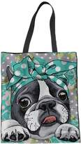 Coloranimal Green Floral Boston Terrier Linen Tote Bag for Women Shopping Hand Bags