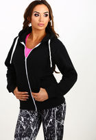 Pink Boutique Chill Out Black Zip Front Hoodie