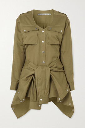 Alexander Wang Distressed Tie-front Cotton-twill Playsuit - Army green