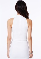 Missguided Lacey High Neck Ribbed Crop Top In White
