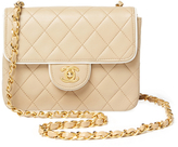 Chanel Vintage Beige Quilted Lambskin Piped Flap Mini