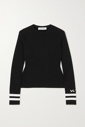 Valentino Intarsia Ribbed-knit Sweater - Black