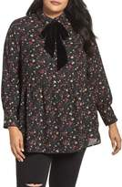 LOST INK Velvet Tie Floral Blouse
