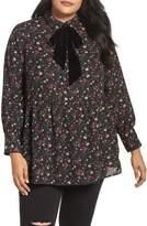 Plus Size Women's Lost Ink Velvet Tie Floral Blouse