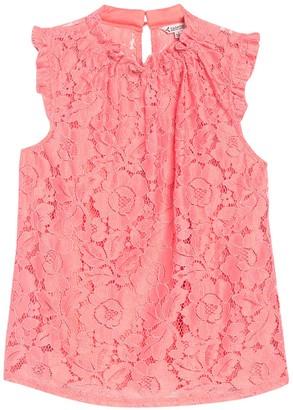 Nanette Nanette Lepore Floral Lace Shirred Ruffle Blouse