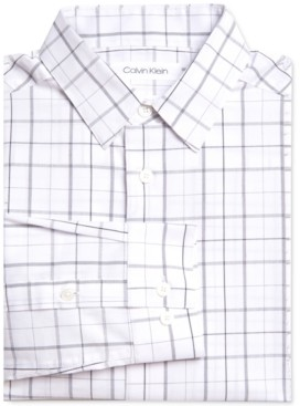 Calvin Klein Big Boys Stretch Plaid Dress Shirt