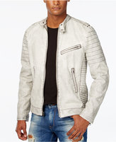 GUESS Men's Hayden Faux-Leather Moto Jacket