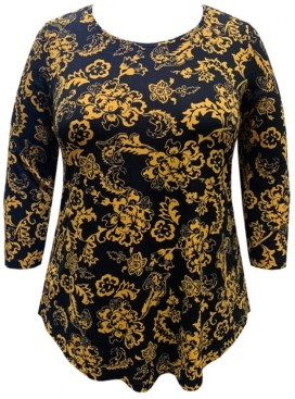 JM Collection Plus Size Tiana Printed Top, Created for Macy's