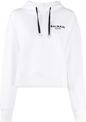Balmain Logo Print Hoodie