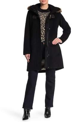 Pendleton St Marie Hooded Genuine Raccoon Fur Trim Wool Blend Coat