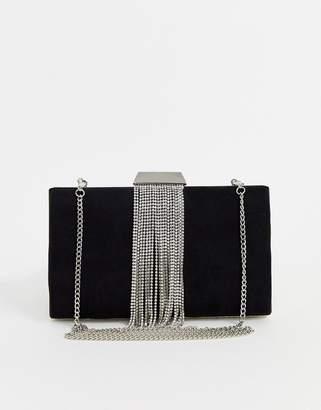 Forever New velvet clutch bag with diamante fringe detail in black