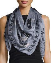 Alexander McQueen Silk Mixed Skull Foulard Scarf, Gray/Black