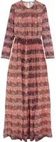 MSGM Floral-print Silk-chiffon Gown - Pink