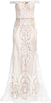 Jovani Lace Off-The-Shoulder Gown